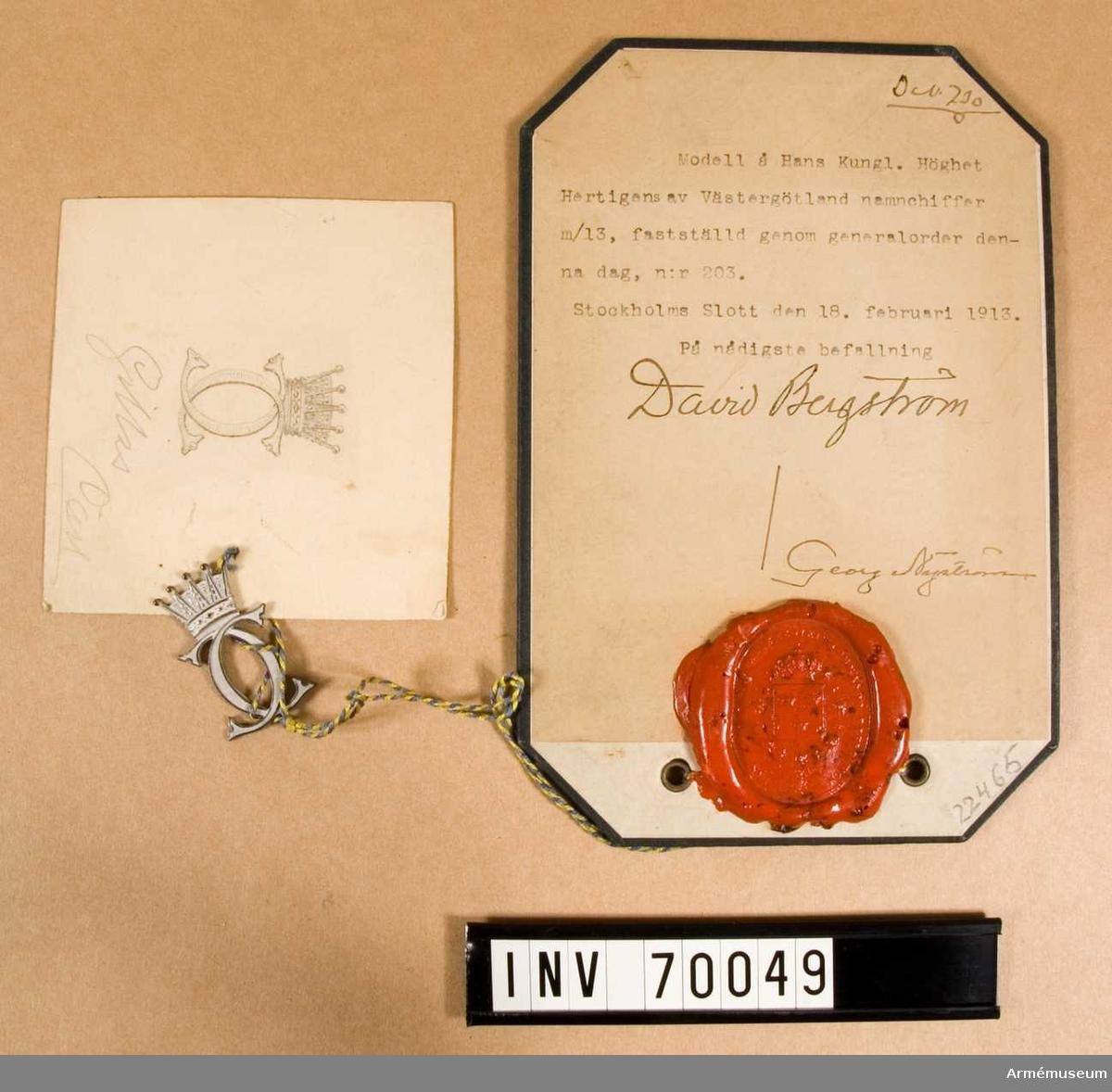 Grupp C.I.   Hans Kungl. Höghet Hertigens av Västergötland namnchiffer m/1913.