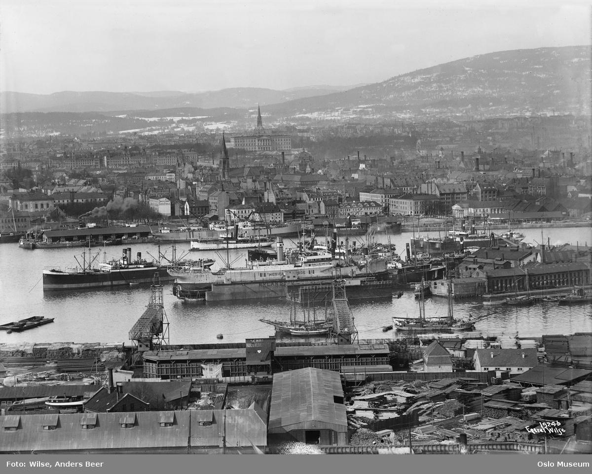 utsikt, bordtomter, havn, fjord, skip, Nylands verksted, bybebyggelse