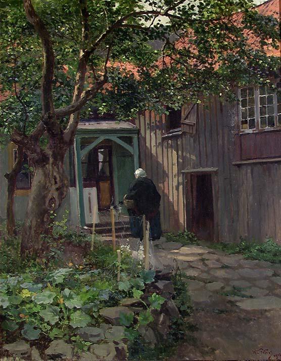 Fra gårdsplassen [Maleri]