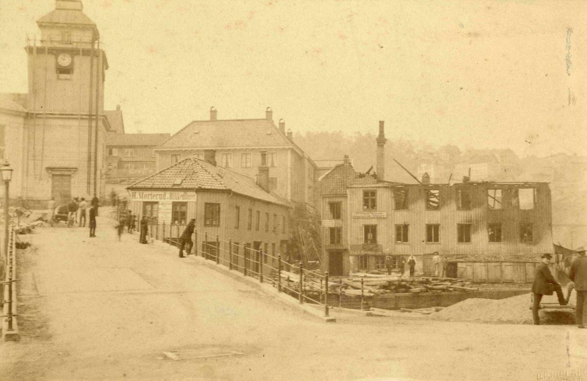 Arendal - Tyholmen - Bent Nilsens hus etter brannen i 1885