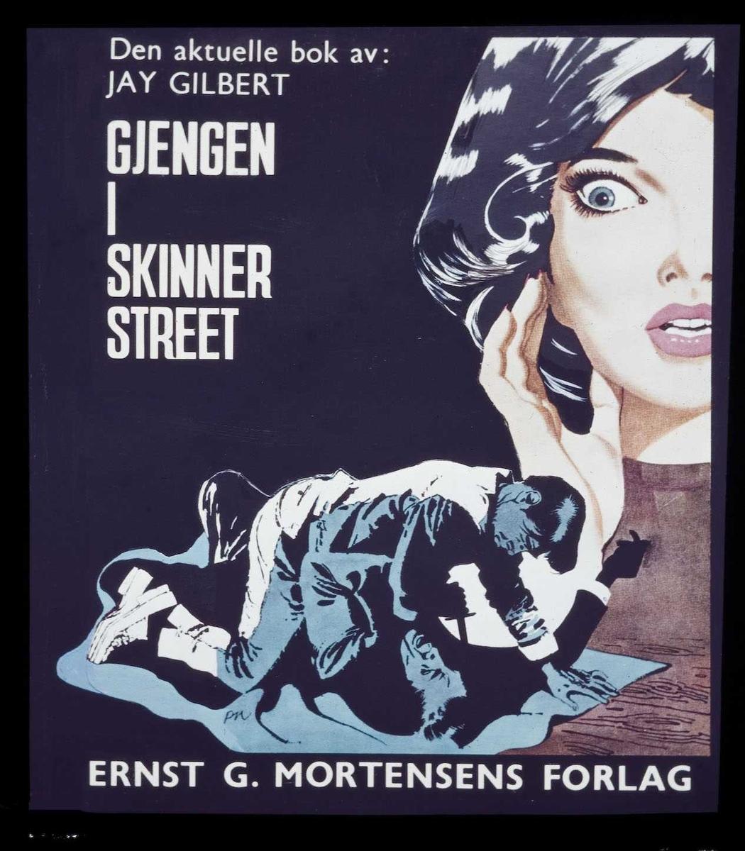 Kinoreklame fra Ski. Den aktuelle bok av. Jay Gilbert - gjengen i Skinner street. Ernst G. Mortensens Forlag.