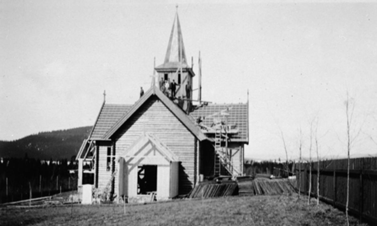 Eksteriør, Mesnalia kapell, Ringsaker. Under bygging 1933.