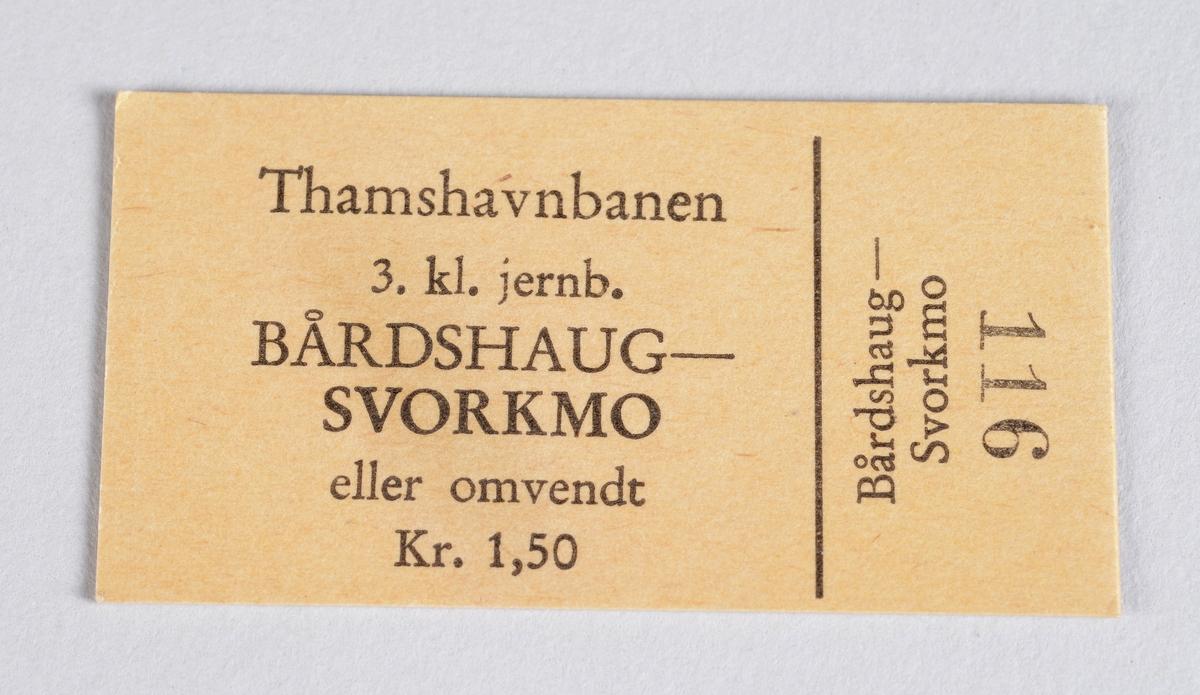 Rektangulær billett i papp for reise med Thamshavnbanen.
